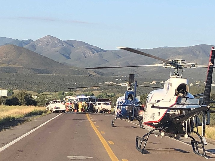 First responders handled a three-vehicle crash on Highway 169 Tuesday morning, Sept. 17, 2019. (Cougan Carothers, Central Arizona Fire and Medical Authority/Courtesy)