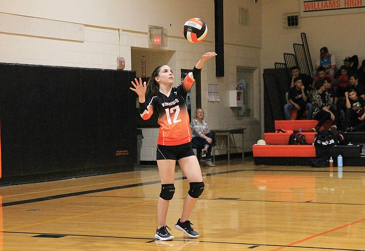 Rory Stevens serves the ball during the Vikings game with Bagdad Sept. 13. The Vikings won in three sets.  (Wendy Howell/WGCN)