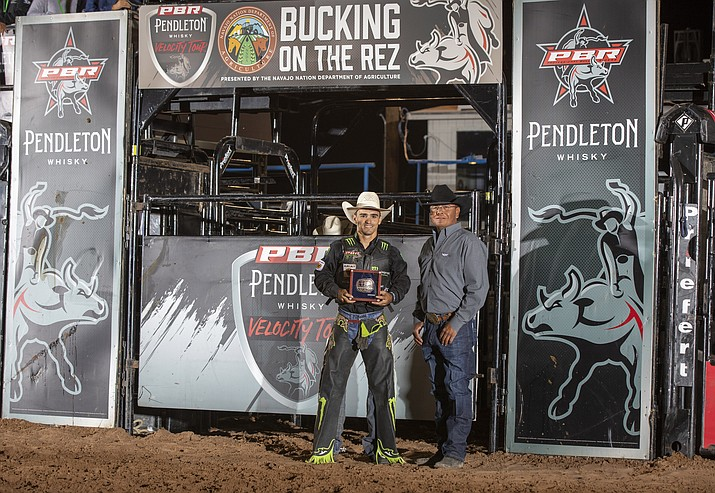 Jose Vitor Leme wins Bucking on the Rez bullriding competition at Window Rock Sept. 4. (Photo courtesy of Andre Silva, BullStock Media)