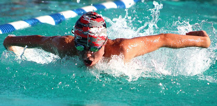 Lee Williams sophomore Beauen Bratley notched two first-place finishes during the 2019 Northwest Arizona Invitational at Centennial Pool. (Daily Miner file photo)