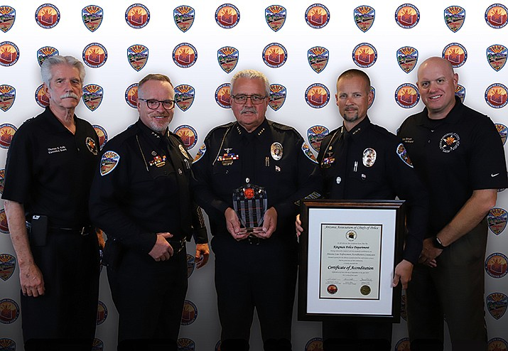 From left, Apache Junction Police Department Chief and AACOP President Thomas Kelly, KPD Deputy Chief Rusty Cooper, KPD Chief Robert DeVries, KPD Deputy Chief Evan Kunert, and Winslow Police Department Chief and ALEAP Vice Chair Dan Brown. (Photo courtesy of KPD)