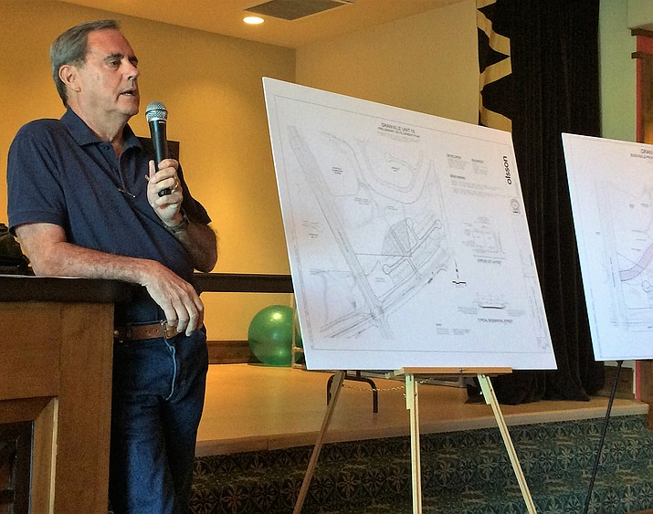 Granville developer Joe Contadino presents a rezoning request and General Plan amendment in a public hearing at the Granville clubhouse Sept. 10 to about 100 Granville residents. (Sue Tone/Tribune)