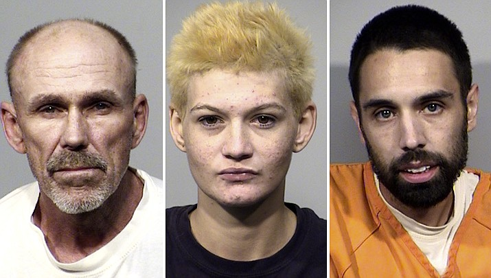 James Hawthorne, 55, Jessica Warwick, 20, and Vincent Heslin, 28, were all arrested in connection to burglaries committed in Cornville in Sept. 2019. (Yavapai County Sheriff's Office/Courtesy)