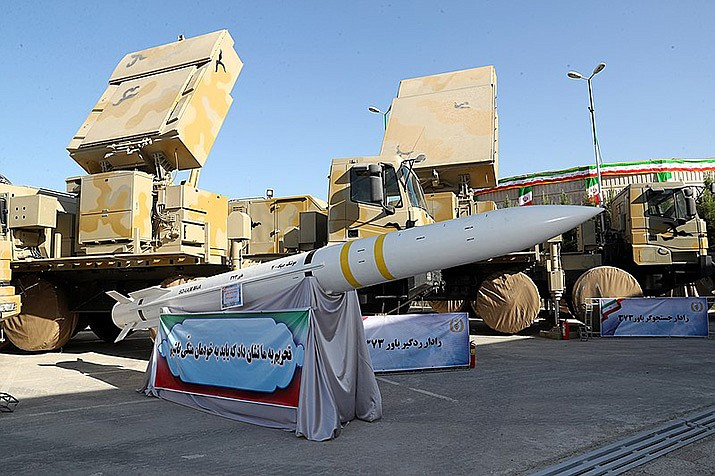 An Iranian-made Sayyad-4 solid-fuel missile is shown in this 2019 file photo. (Photo by president.ir, cc-cy-sa-4.0, https://bit.ly/2kom5wx)