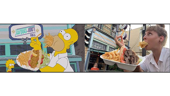 Two Swiss women recreated Homer Simpson's tour of New Orleans in this side-by-side video. (Katrin von Niederhäusern, Associated Press, Youtube)