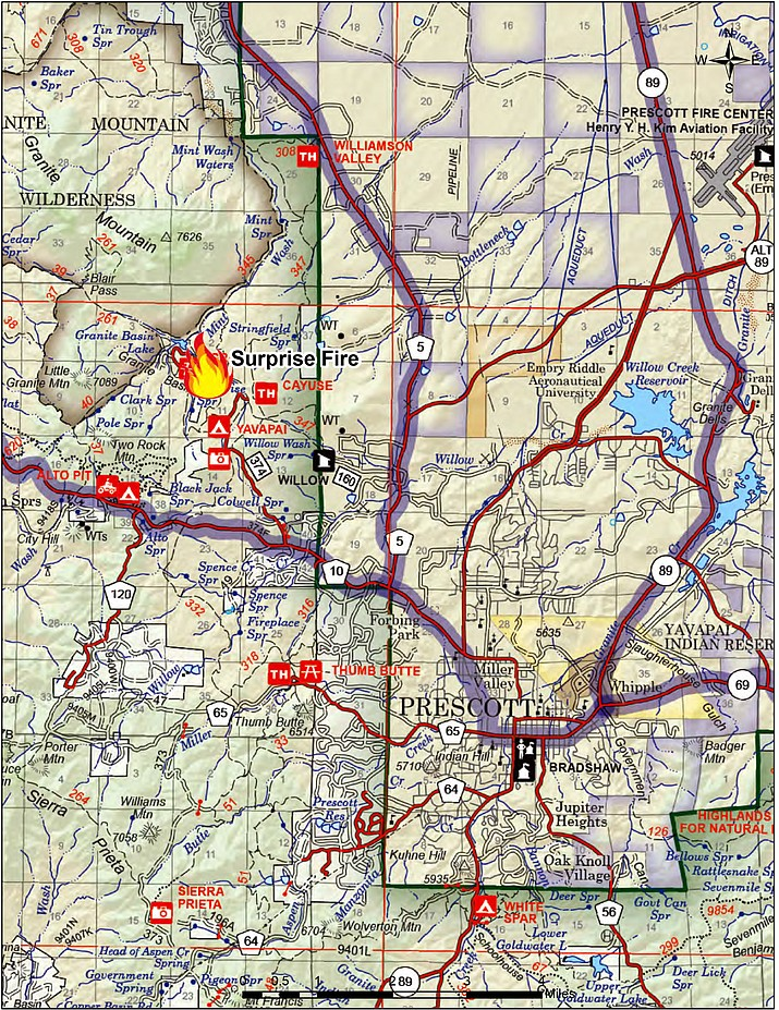 The Surprise Fire is burning in the Granite Basin Recreation Area 7 miles north and east of Prescott. (Prescott National Forest/Courtesy)