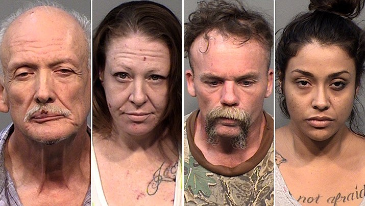 From left to right. Larry Toomer, 69, Rebecca Zuniga, 39, Stephen Moore, 49, and Cynthia Salas, 20, were arrested after a traffic stop and SWAT raid in Chino Valley Monday, Sept. 16, 2019. (YCSO/Courtesy)