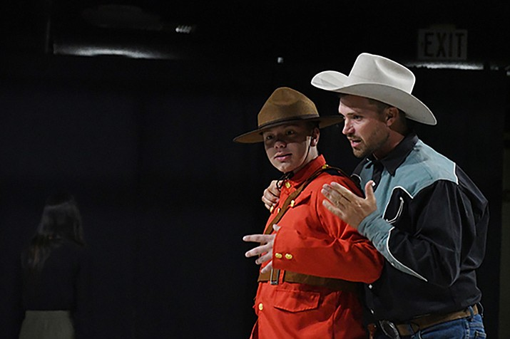 "Toronto (Joey Roehrick), left, and Ranger (Bob Blakein) are a dynamic duo. Toronto fixes everything that Ranger does wrong in the Beale Street Theater's dinner theater production of the melodrama ""The Legend of the Lone Texas Walker Ranger."" (Photos by Vanessa Espinoza/Daily Miner)"