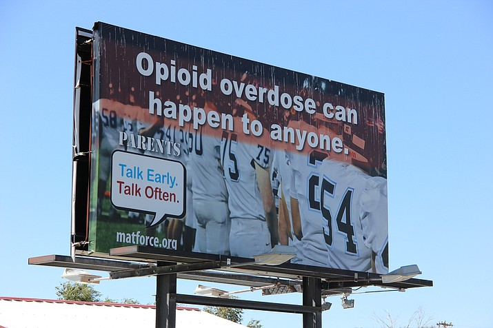 A billboard put up by MatForce near the intersection of Highway 69 and Highway 169 in Dewey. The billboard is part of MatForce's effort to prevent overdose deaths in Yavapai County. (Max Efrein/Courtesy)