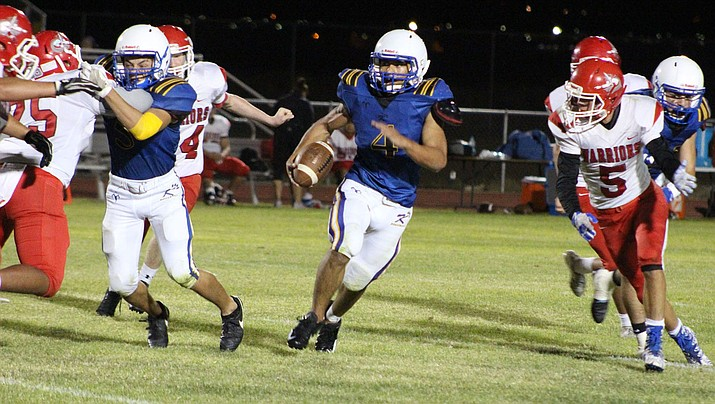 Kingman High's Austin Dias rushed for 188 yards and two touchdowns Friday in a 46-33 victory over American Leadership Academy – Ironwood. (Photo by Beau Bearden/Daily Miner