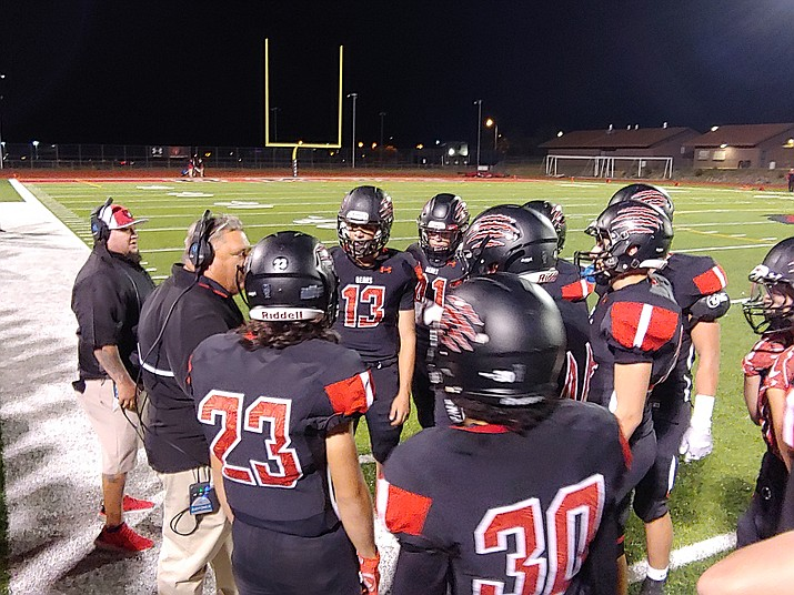 Bradshaw Mountain head coach Chuck Moller talks to his team as the Bears take on Lee Williams on Friday, Sept. 20, 2019, in Prescott Valley. The Bears won 35-20. (Doug Cook/Courier)