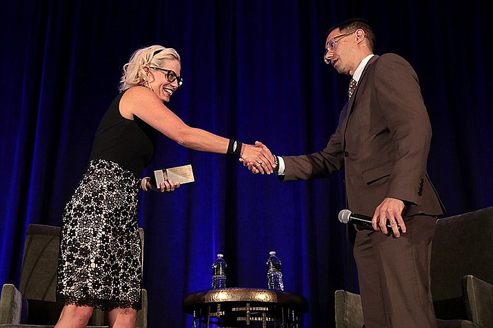 U.S. Sen. Kyrsten Sinema (D-Ariz.) speaks at the 2019 Update from Capitol Hill hosted by the Arizona Chamber of Commerce and Industry at the Arizona Biltmore Resort in Phoenix. (Gage Skidmore/Wikimedia Commons)