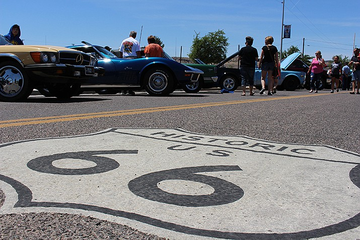 Cars are shown before a Route 66 Fun Run in Kingman. A new Historic Route 66 Association of Arizona Endowment will pay for cataloging the 12 Route 66 collections stored by the Cline Library at Northern Arizona University. (Daily Miner file photo)