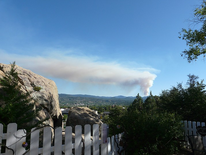 Prescott resident Joy Jordan, who lives about 3 miles north of the courthouse plaza, shared this image Sunday, Sept. 22, 2019, of smoke to the south of the city rising from a new fire. The blaze is near Lookout Mountain and the town of Walker. (Courtesy)
