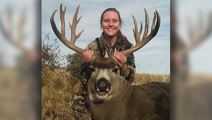 Kingman resident Tad Levandowski took this excellent photo of a young lady from Maryland, who bagged this mule deer buck on a juniors hunt in Unit 18B. The lighting, angle of the photo and background combine to make a quality photo. (Photo by Tad Levandowski/For the Miner)