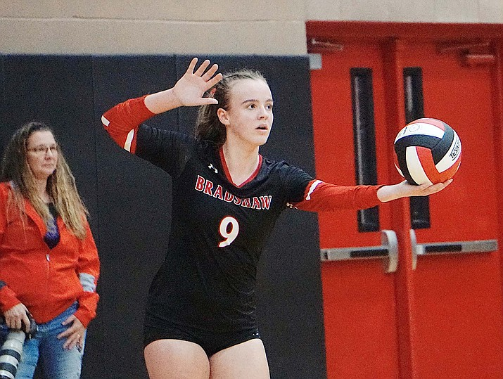 Bradshaw Mountain senior OH Jordyn Moser prepares to serve in a game against Prescott on Thursday, Sept. 12, 2019, at Bradshaw Mountain High School. (Aaron Valdez/Courier, File)