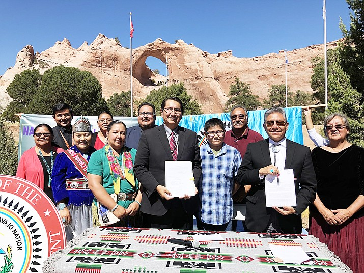 Navajo Nation President Jonathan Nez, Vice President Myron Lizer, 24th Navajo Nation Council Speaker Seth Damon, Council Delegate Amber Kanazbah Crotty and Associate Justice Eleanor Shirley gathered at the Veterans Memorial Park in the capital of the Navajo Nation, for a signing ceremony to officially adopt the Navajo Nation's Fiscal Year 2020 Comprehensive Budget. (Photo/Office of the President and Vice President)