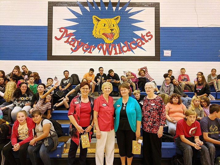 Members of the Yavapai Chapter of the Daughters of the American Revolution visit Mayer Elementary School Social Studies classes Sept. 17, 2019, to offer a presentation on the U.S. Constitution. From left, standing, are Kathy Houchin, Dorothy Castanos, Judy Davies and Sue Burk. (Sue Tone/Tribune)
