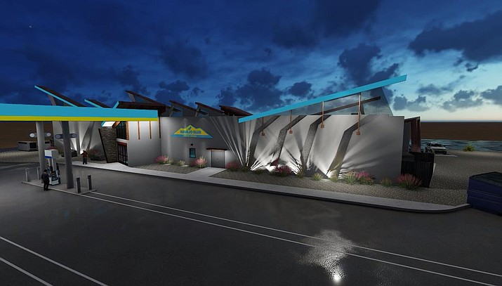 Navajo Blue Travel Plaza is said to promote Navajo sovereignty. This rendering shows what the plaza will look like upon completion later this year. (Photo/Navajo Gaming)