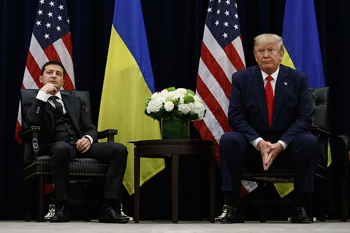 President Donald Trump meets with Ukrainian President Volodymyr Zelenskiy at the InterContinental Barclay New York hotel during the United Nations General Assembly, Wednesday, Sept. 25, 2019, in New York. (Evan Vucci/AP)