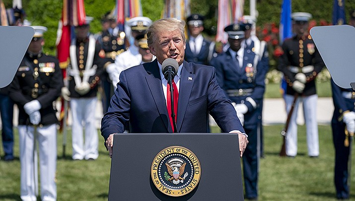 U.S. President Donald Trump speaks during a ceremony on Thursday, July 25 in Washington. U.S. Reps. Greg Stanton (D-Ariz.) and Ruben Gallego (D-Ariz.) have joined the call for the president's impeachment. (White House photo)