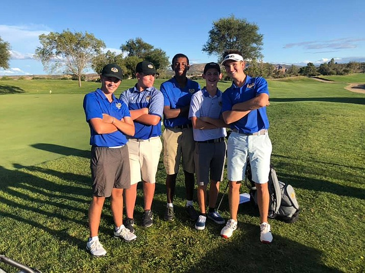 Prescott boys golf poses for a photo during a match against Bradshaw Mountain and Page on Wednesday, Sept. 25, 2019, at Antelope Hills Golf Course in Prescott. (Dan Osterloh/Courtesy)