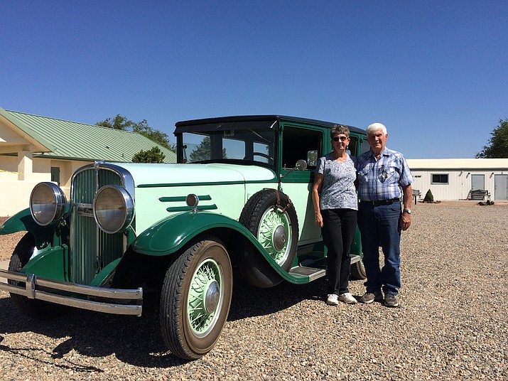 Monte and Terry Colucci with their 1935 Franklin, which will appear at the Chino Valley United Methodist Church's 12th annual Antique & Classic Car Show. (Jason Wheeler/Review)