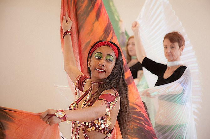 Belly dancers from New Moon Tribal school perform. (Courtesy)