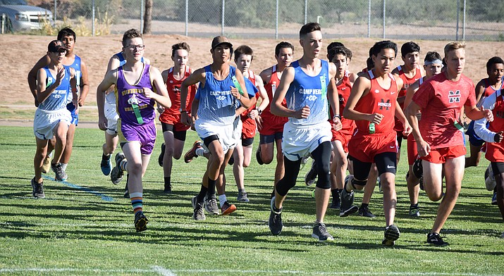 Runners begin the boys race at the Camp Verde XC Invitational on Saturday morning at Camp Verde High School. VVN/James Kelley