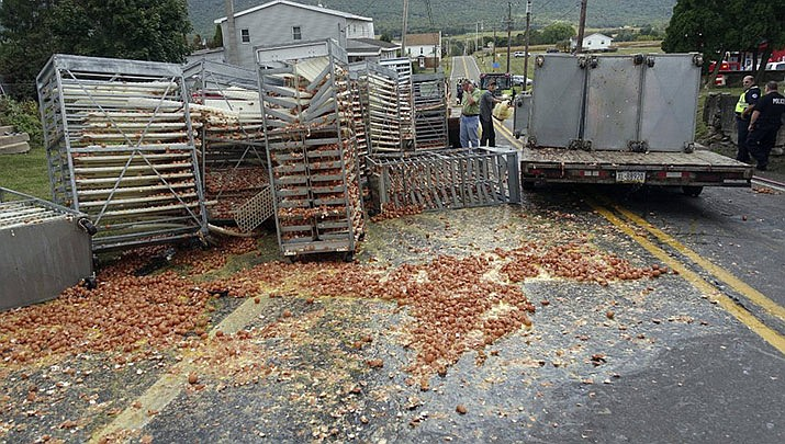 Smashed eggs clutter Route 125 in Hegins Township, Pa., Tuesday morning, Sept. 24, 2019, after a truck overturned spilling tens of thousands of eggs onto the road. These were fertilized chicken eggs on their way to an incubator. Police say a tractor-trailer driving through Pennsylvania lost over 136,000 eggs when its load shifted. In total, 11,340 dozen eggs and 2,260 gallons of egg product were lost as 66-year-old Joseph Miles drove through Hegins Township Tuesday morning. Police say Miles was driving north on Route 125 uphill. As he approached the Route 25 intersection, the load shifted causing the eggs to fall and roll down the hill. Miles reportedly did not realize the eggs had fallen and continued his drive. (Frank Andruscavage/Republican-Herald via AP)