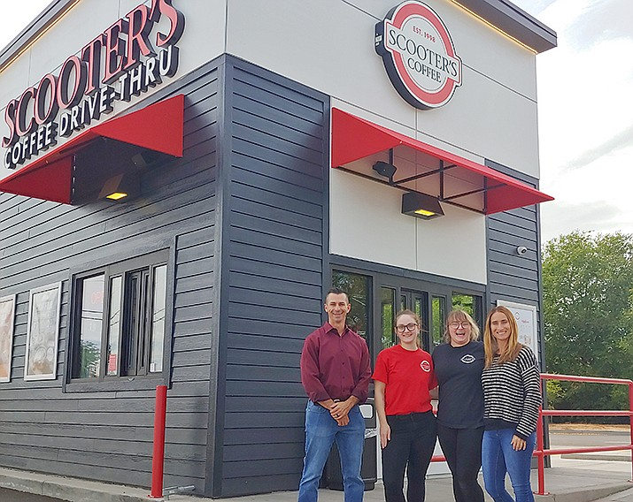 From left, franchisee Dana DeVito, store supervisor Heather Pifer-Duncan, store manager Haili Robichaux and marketing/communications director Anna DeVito brought Nebraska-based drive-through coffee chain Scooter's Coffee to Chino Valley. (Doug Cook/Courier)