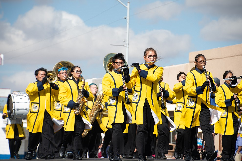 Kingman High School Marching Band was one of the two school bands that marched at the 49th annual Andy Devine Days Parade Saturday, Sept. 28, 2019. (Photo by Vanessa Espinoza/Daily Miner)
