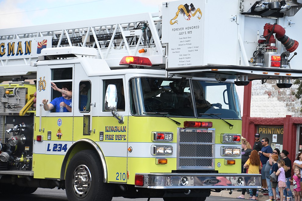 Kingman Fire Department at the 2019 Andy Devine Days Parade. (Photo by Vanessa Espinoza/Daily Miner)