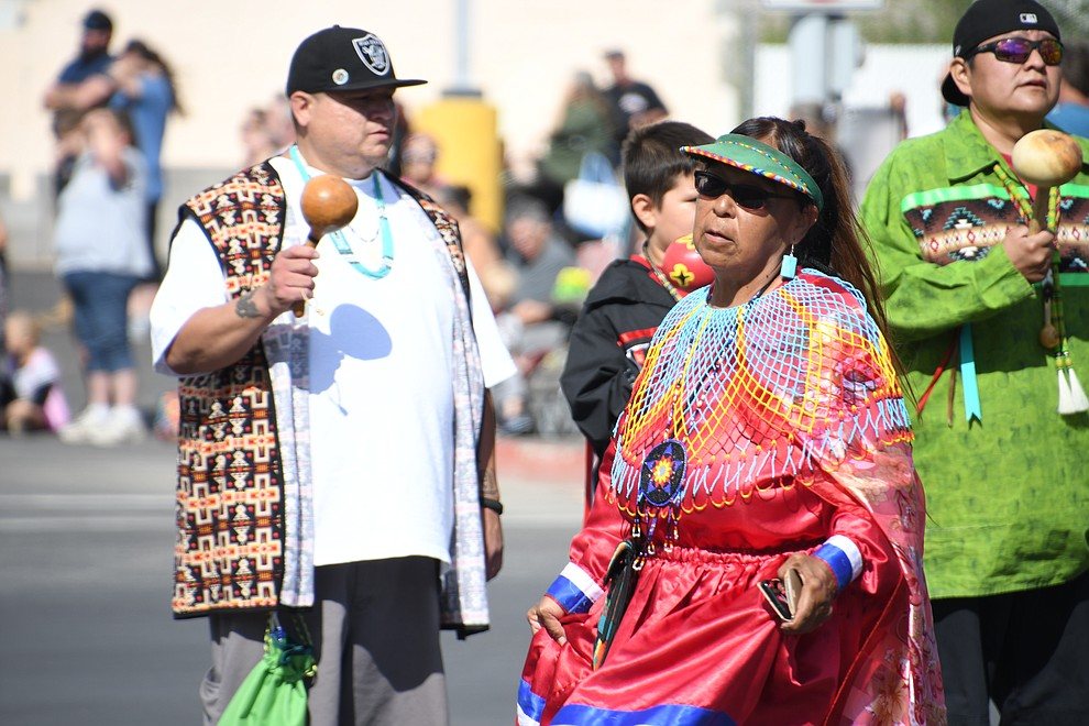 Hualapai Tribe members provided a traditional performance at the 49th annual Andy Devine Days Parade Saturday, Sept. 28, 2019. Hualapai Royalty were also in attendance. (Photo by Vanessa Espinoza/Daily Miner)
