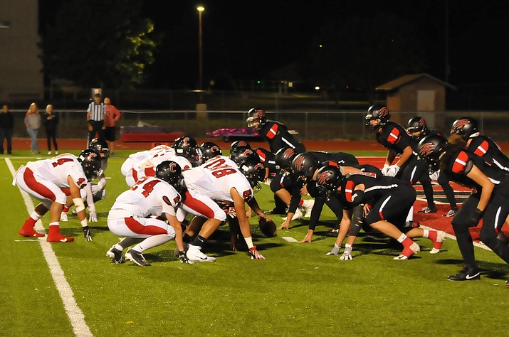 "The Bradshaw Mountain defensive front lines up against the Panthers' ""Coco Bunch"" on Friday, Sept. 27, 2019. The Bears (3-3, 1-1 Grand Canyon) lost 28-14 as Coconino improved to 5-0 on the season. (Doug Cook/Courier)"