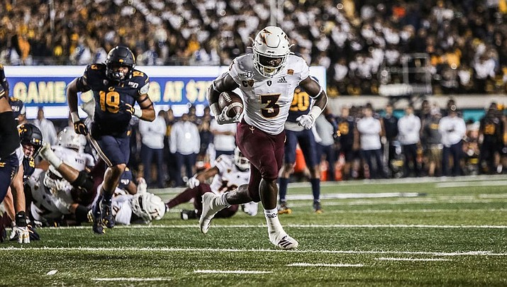 Eno Benjamin rushed for three touchdowns, including the go-ahead score in the fourth quarter Friday night as Arizona State tallied a 24-17 win over No. 15 Cal (Photo courtesy of Sun Devil Athletics)