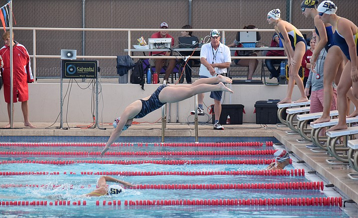 Mingus senior Zoey Arwine dives into the pool during the 200-yard freestyle relay on Thursday at the Cottonwood Aquatics Center. VVN/James Kelley