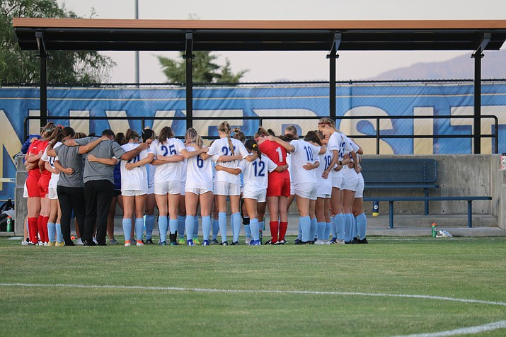 In this undated photo, the Embry-Riddle women's soccer team huddles together. The Eagles earned a 12-0 win against Simpson on Friday, Sept. 27, 2019, in Redding, California. (ERAU Athletics/Courtesy)