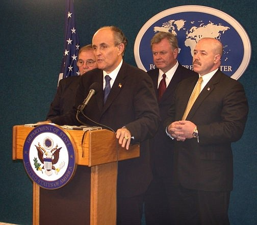 Rudy Giuliani, President Donald Trump's private lawyer, is shown at a press conference while serving as the Mayor of New York. Giuliani said Sunday, Sept. 29 that he'd only help with the Democrats' impeachment probe if Trump gave his approval. (Public domain)