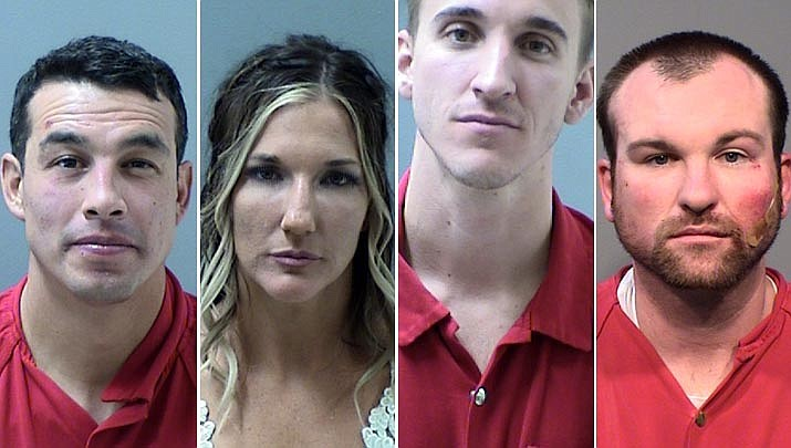 From left to right: Eric Cordova, 32, Ashley Jordan, 30, Amos Puckett, 25, and Dustin Trout, 31, were arrested Saturday, Sept. 28, 2019, for aggravated assault on Prescott Police officers. Cordova and Jordan were married earlier in the day. (Prescott PD/Courtesy)