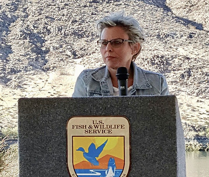 Mohave County Board of Supervisors Chair and District 2 Supervisor Hildy Angius speaking at the U.S. Fish and Wildlife Service. (Courtesy photo)
