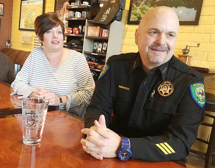 """Camp Verde Marshal Corey Rowley, shown here at a """"Coffee with a Cop"""" event, recent approached Cheri Wischmeyer, the writer of this commentary, about helping start a citizens' committee that gives committee members a more firsthand look at what the Marshal's Office is all about. VVN file photo"""