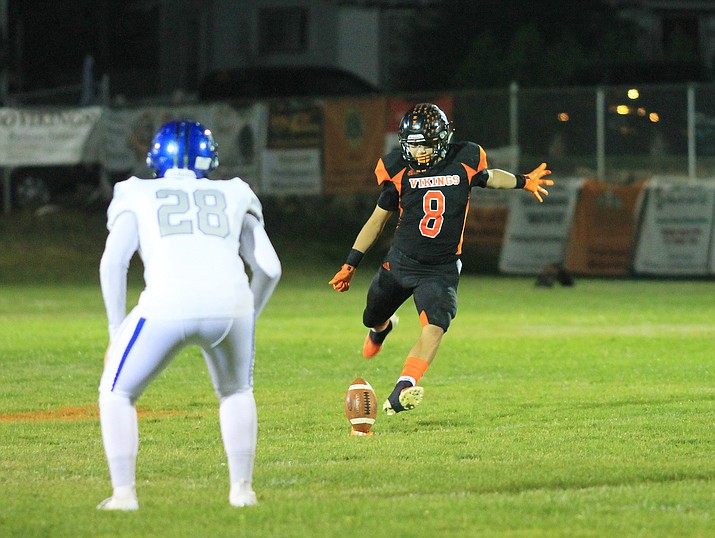 David Lozano kicks off in an earlier game against Bagdad. The Vikings beat Mogollon Sept. 27, 38-6. (Wendy Howell/WGCN)