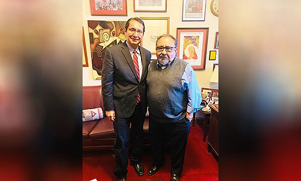 U.S. Rep. Chair Raúl M. Grijalva (D-Ariz.), Chairman of the U.S. House Natural Resources Committee visits with Navajo Nation President Jonathan Nez. (Photo/Office of the President and Vice President)