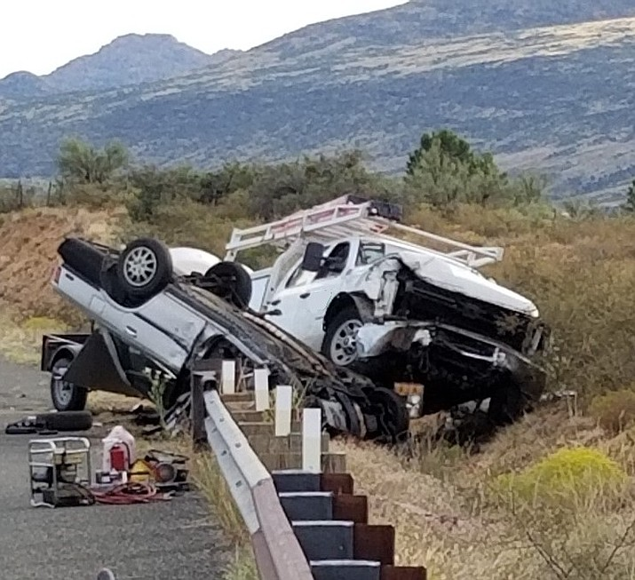 A white 2014 Chevrolet 3500 Crew cab truck and a silver 1989 Toyota Camry 4-door sedan after the two vehicles collided head-on along Iron Springs Road near Skull Valley. (YCSO/Courtesy)