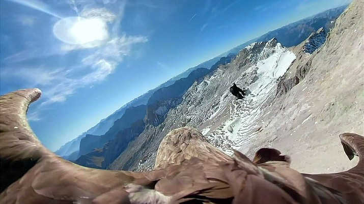 In this image made from video provided by Eagle Wings Foundation/Chopard, aerial footage shot by a camera attached to an eagle of a glacier in Western Europe. (Eagle Wings Foundation/Chopard via AP)