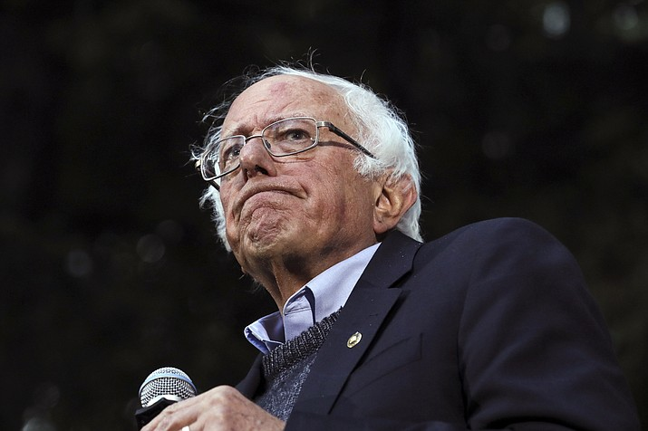 "In this Sept. 29, 2019 photo, Democratic presidential candidate Sen. Bernie Sanders, I-Vt., pauses while speaking at a campaign event at Dartmouth College in Hanover, N.H. Sanders' campaign said Wednesday the Democratic presidential candidate has had a heart procedure for a blocked artery and that he's canceling events and appearances ""until further notice."" (Cheryl Senter/AP, file)"