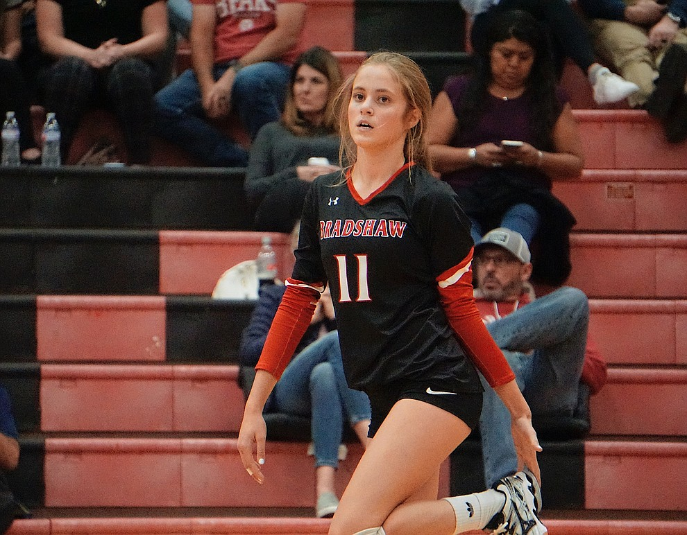 Bradshaw Mountain OH Abigail Platt (11) stretches before the fourth set during the team's 3-1 win over Coconino on Tuesday, Oct. 1, 2019, at Bradshaw Mountain High School. (Aaron Valdez/Courier)