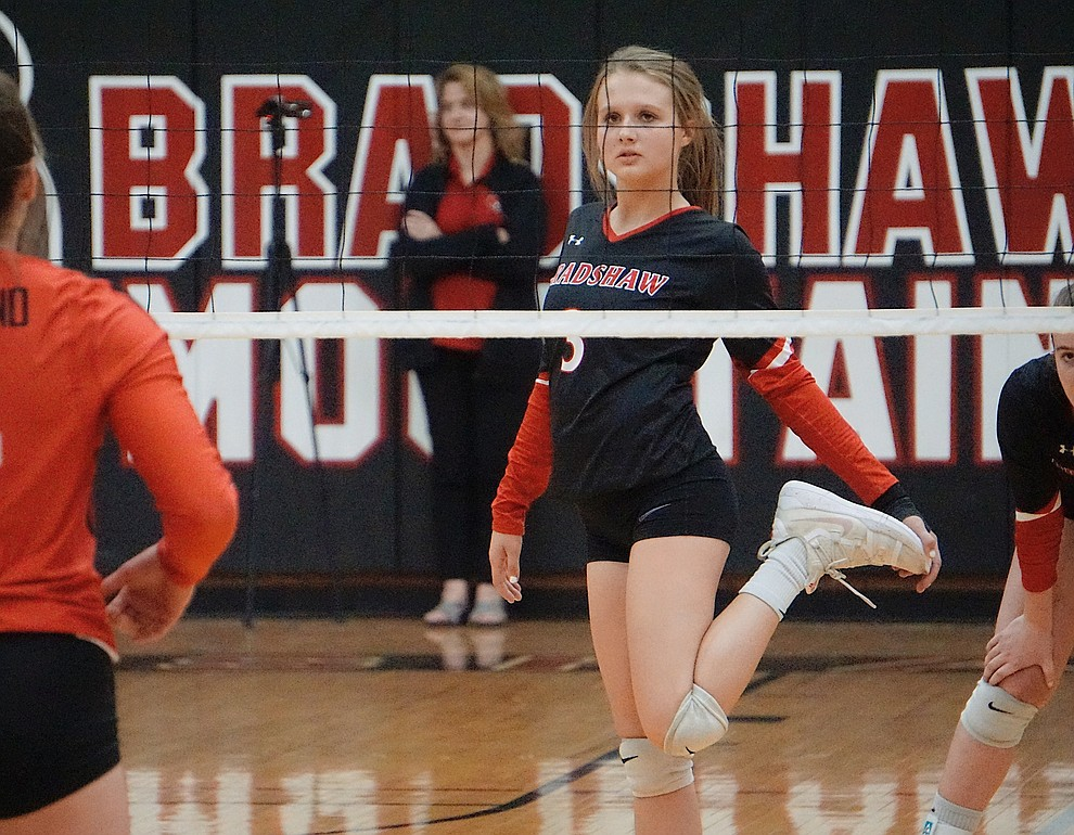 Bradshaw Mountian S McKell Clifford (3) stretches before starting a rally during the team's 3-1 win over Coconino on Tuesday, Oct. 1, 2019, at Bradshaw Mountain High School. (Aaron Valdez/Courier)