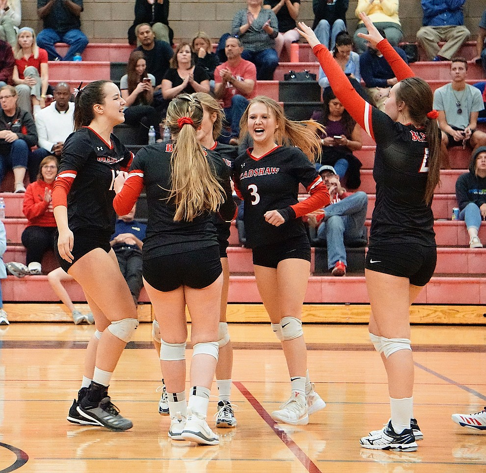 Bradshaw Mountain volleyball celebrates after scoring a point during the team's 3-1 win over Coconino on Tuesday, Oct. 1, 2019, at Bradshaw Mountain High School. (Aaron Valdez/Courier)